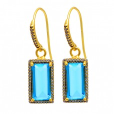 Blue Quartz Cz Gemstone 925 Sterling Silver Gold Plated Dangle Earrings