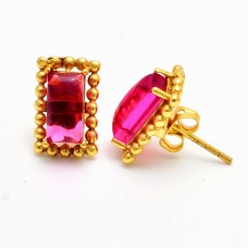 Rectangle Shape Pink Quatz Gemstone 925 Sterling Silver Gold Plated Stud Earrings
