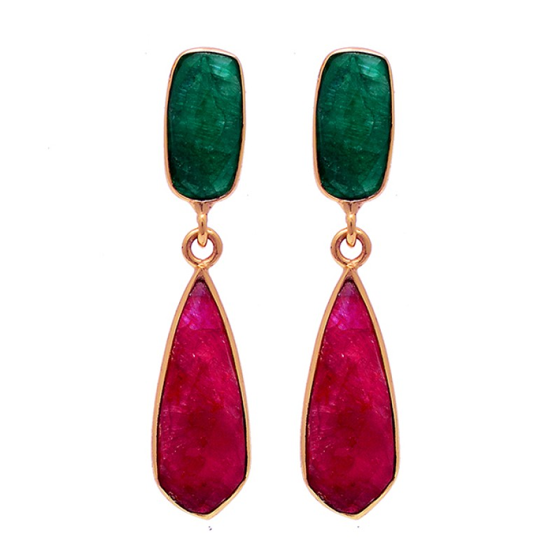 Emerald Ruby Gemstone 925 Sterling Silver Gold Plated Stud Dangle Earrings