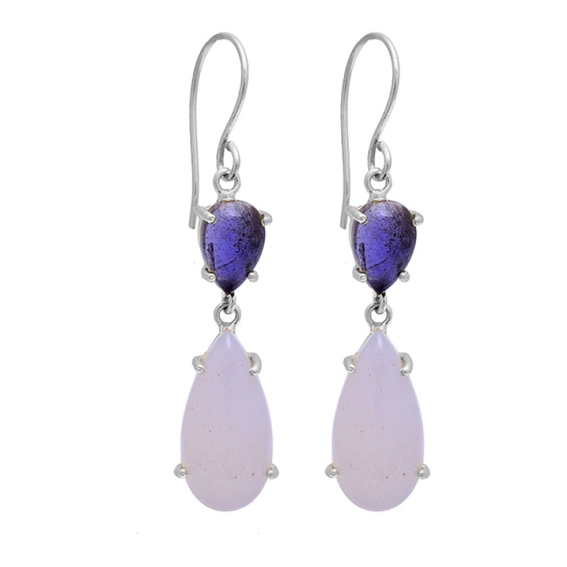 Tanzanite Moonstone 925 Sterling Silver Gold Plated Dangle Handmade Earrings