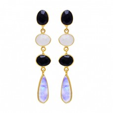 Black Onyx Rainbow Moonstone 925 Sterling Silver Gold Plated Stud Earrings
