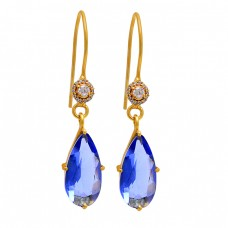 Pear Round Shape Tanzanite Quartz Cz Gemstone 925 Silver Gold Plated Earrings