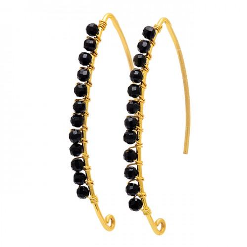 Round Shape Black Onyx Gemstone 925 Sterling Silver Gold Plated Hoop Earrings