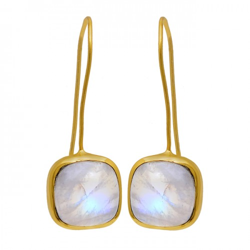 Cabochon Square Shape Moonstone 925 Sterling Silver Gold Plated Earrings