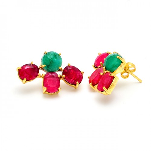 925 Sterling Silver Ruby Emerald Gemtone Gold Plated Prong Setting Stud Earrings