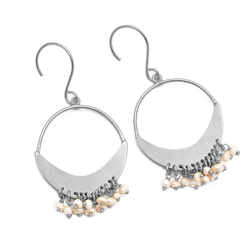 Pearl Roundel Beads Gemstone Handmade 925 Sterling Silver Gold Plated Dangle Earrings