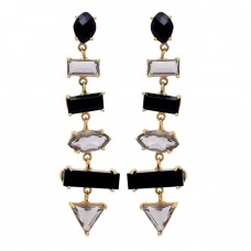 Smoky Quartz Black Onyx Gemstone 925 Sterling Silver Gold Plated Stud Earrings