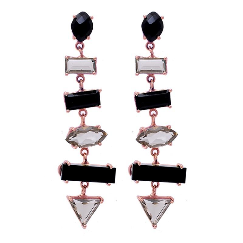 Smoky Quartz Black Onyx Gemstone 925 Sterling Silver Gold Plated Stud Earrings