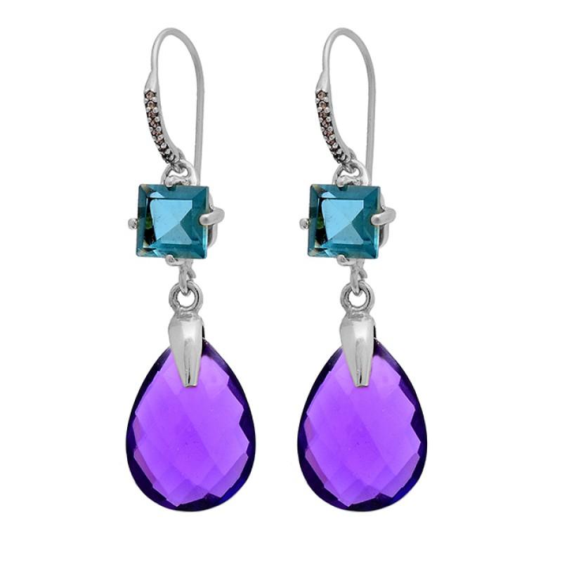 Blue Topaz Amethyst Gemstone 925 Sterling Silver Gold Plated Dangle Earrings