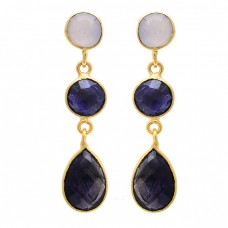 Sapphire Moonstone 925 Sterling Silver Gold Plated Stud Dangle Earrings