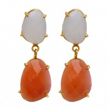 Rainbow Moonstone Carnelian 925 Sterling Silver Gold Plated Stud Earrings
