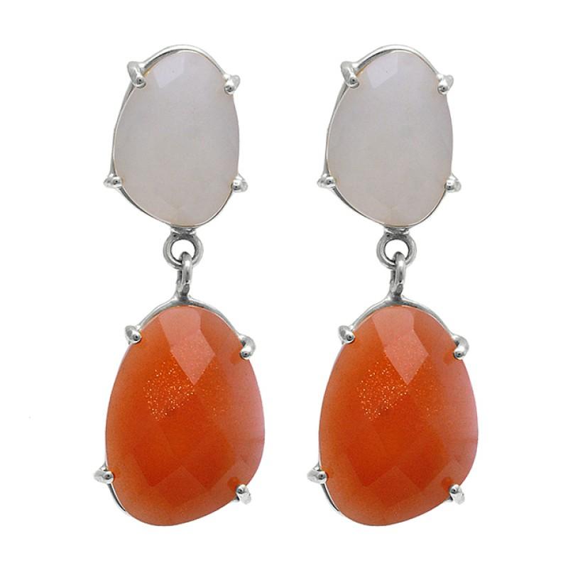 Rainbow Moonstone Carnelian 925 Sterling Silver Gold Plated Stud Earrings