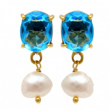 Blue Topaz Pearl Gemstone 925 Sterling Silver Gold Plated Stud Dangle Earrings
