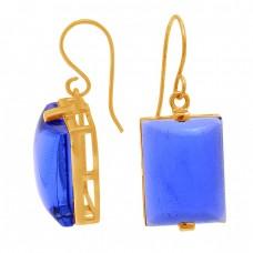 Rectangle Shape Blue Quartz Gemstone 925 Sterling Silver Dangle Earrings