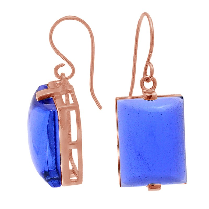 Rectangle Shape Blue Quartz Gemstone 925 Sterling Silver Dangle Earrings