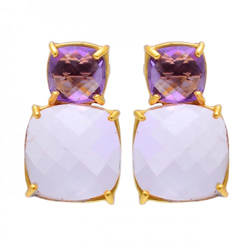 Amethyst Rainbow Moonstone 925 Sterling Silver Gold Plated Stud Earrings