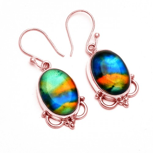 Oval Cabochon Dichroic Glass Gemstone 925 Sterling Silver Handmade Earrings