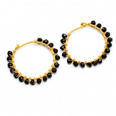 Faceted Roundel Beads Black Onyx Gemstone 925 Sterling Silver Gold Plated Hoop Earrings