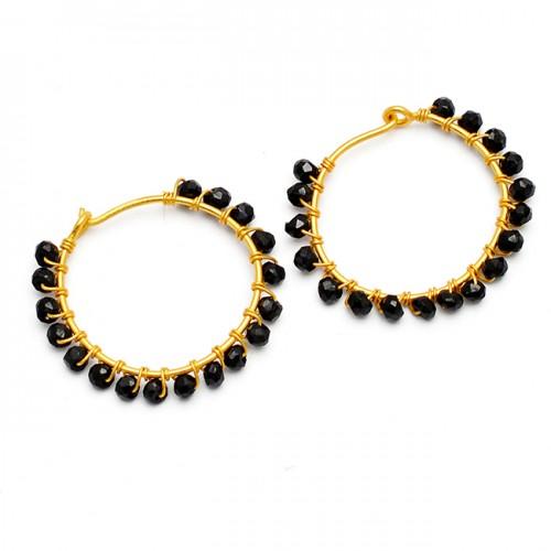 Faceted Roundel Beads Black Onyx Gemstone 925 Sterling Silver Gold Plated Hoop Earrings