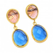 Citrine Blue Chalcedony Gemstone 925 Sterling Silver Gold Plated Stud Earrings