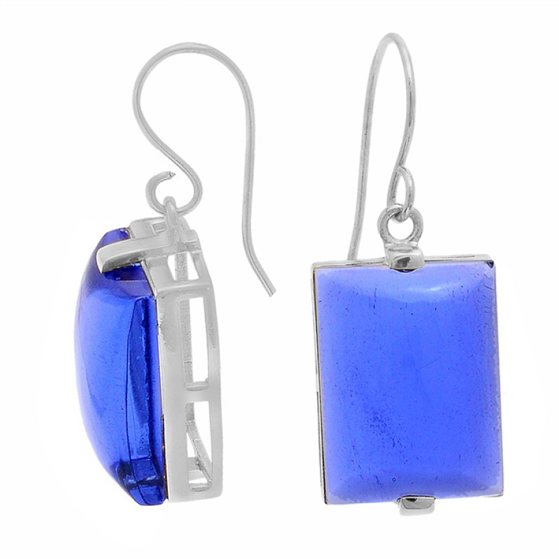 925 Sterling Silver Rectangle Shape Blue Quartz Gemstone Gold Plated Earrings