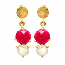 Ruby Rainbow Moonstone 925 Sterling Silver Gold Plated Stud Dangle Earrings