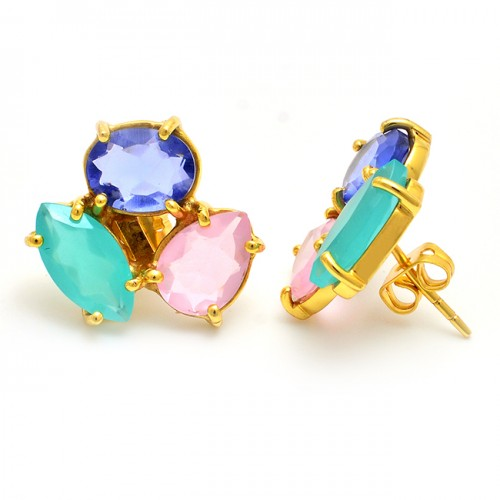 925 Sterling Silver Blue Quatz Chalcedony Gemstone Gold Plated Stud Earrings