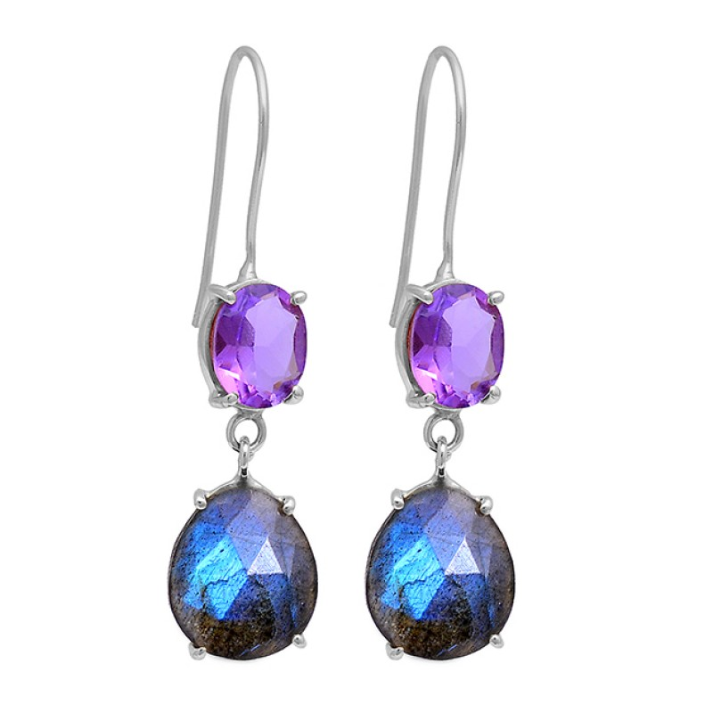 Amethyst Labradorite Gemstone 925 Sterling Silver Gold Plated Earrings