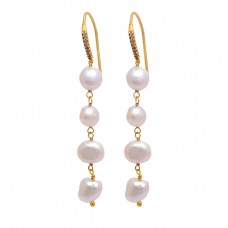 Round Shape Pearl Gemstone 925 Sterling Silver Gold Plated Dangle Earrings