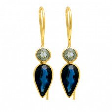 Green Amethyst Blue Quartz Gemstone 925 Sterling Silver Gold Plated Earrings
