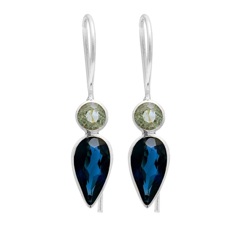 Green Amethyst Blue Quartz Gemstone 925 Sterling Silver Gold Plated Earrings