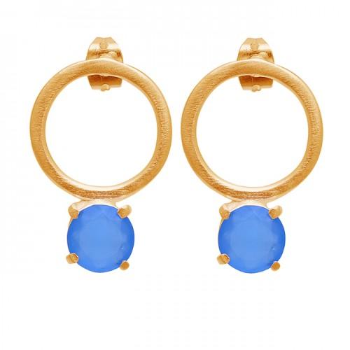 Round Shape Blue Chalcedony Gemstone 925 Sterling Silver Stud Earrings