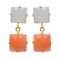 Aqua Chalcedony Carnelian Gemstone 925 Sterling Silver Gold Plated Earrings