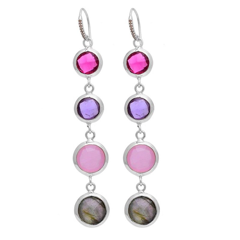 Round Shape Gemstone 925 Sterling Silver Gold Plated Dangle Earrings