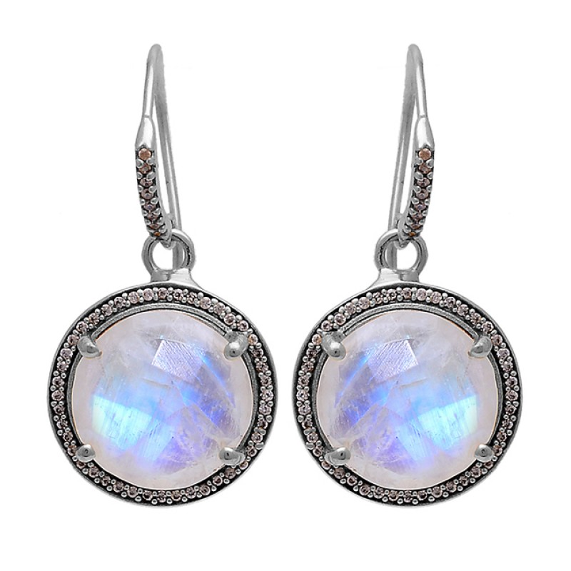 925 Sterling Silver Round Shape Moonstone Gold Plated Dangle Earrings