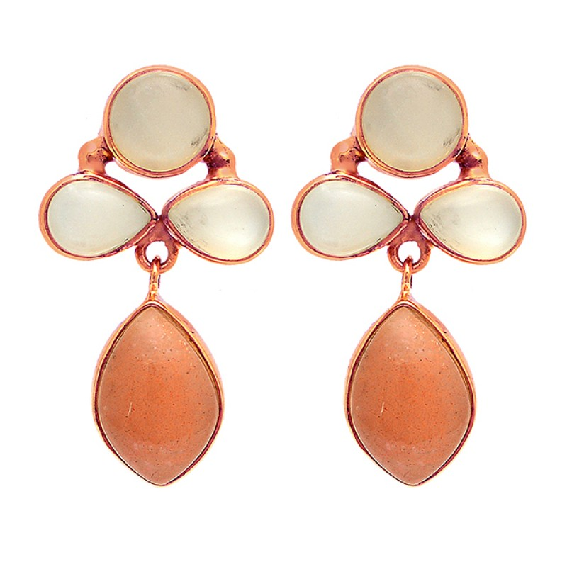 Pear Round Marquise Shape Moonstone 925 Sterling Silver Gold Plated Earrings