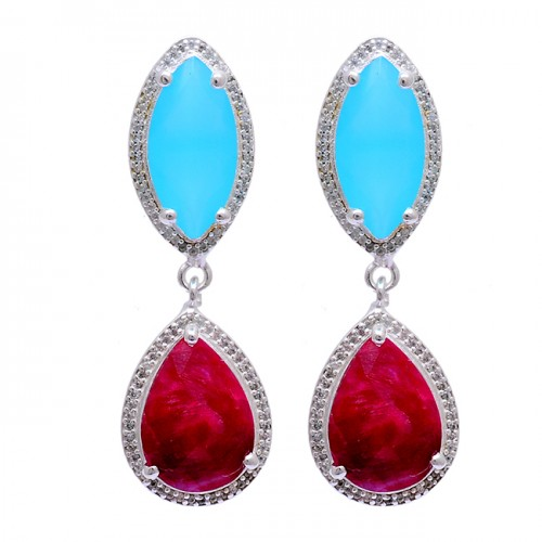 Aqua Chalcedony Ruby Gemstone 925 Sterling Silver 925 Silver Stud Earrings