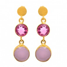 Round Shape Quartz Chalcedony Gemstone 925 Silver Gold Plated Stud Earrings