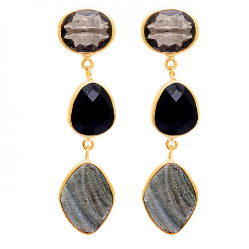 Druzy Quartz Onyx Gemstone 925 Sterling Silver Bezel Setting Stud Earrings