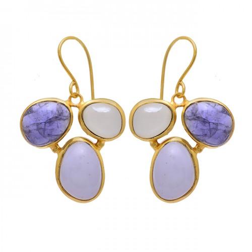 Blue Quartz Moonstone 925 Sterling Silver Gold Plated Dangle Earrings