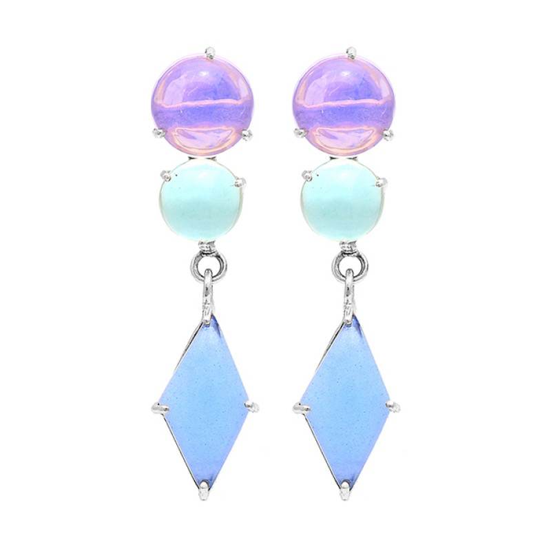 Round Marquise Shape Moonstone 925 Sterling Silver Gold Plated Earrings