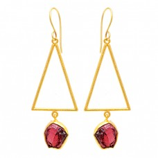 925 Sterling Silver Garnet Rough Gemstone Gold Plated Dangle Earrings
