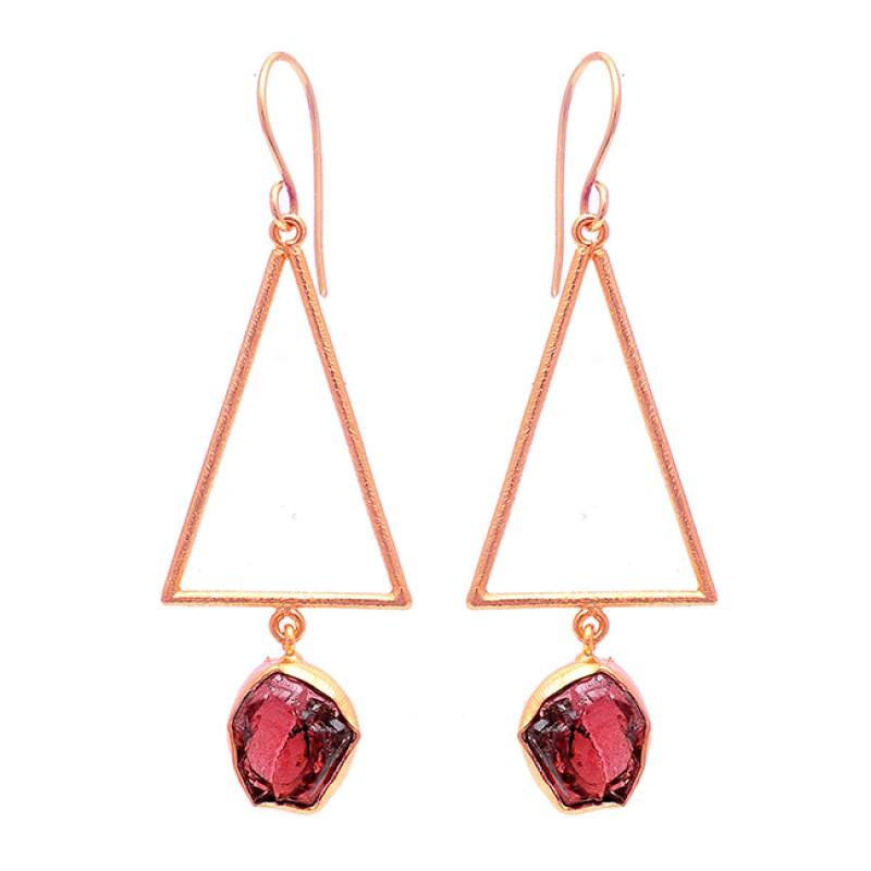 925 Sterling Silver Garnet Rough Gemstone Gold Plated Dangle Earrings