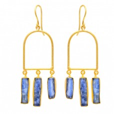Blue Kyanite Gemstone 925 Sterling Silver Gold Plated Dangle Earrings