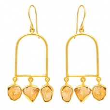 Citrine Rough Gemstone 925 Sterling Silver Gold Plated Dangle Earrings