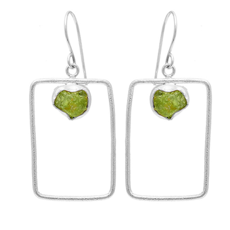 Peridot Rough Gemstone 925 Sterling Silver Gold Plated Dangle Earrings