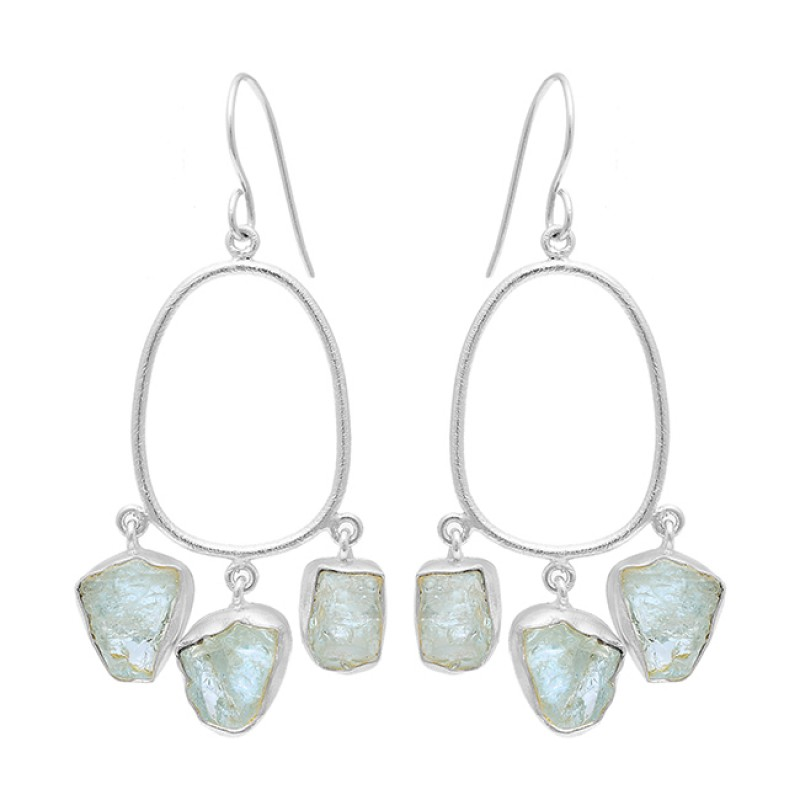 Aquamarine Rough Gemstone 925 Sterling Silver Gold Plated Dangle Earrings