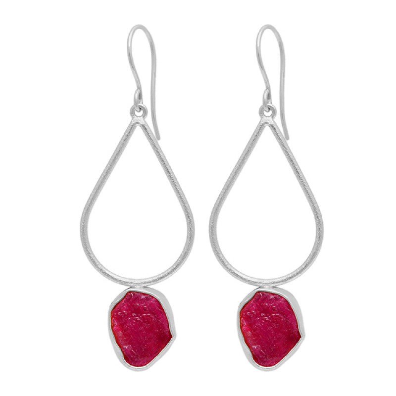 Ruby Rough Gemstone 925 Sterling Silver Gold Plated Dangle Earrings