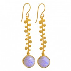 Round Shape Moonstone 925 Sterling Silver Gold Plated Dangle Earrings