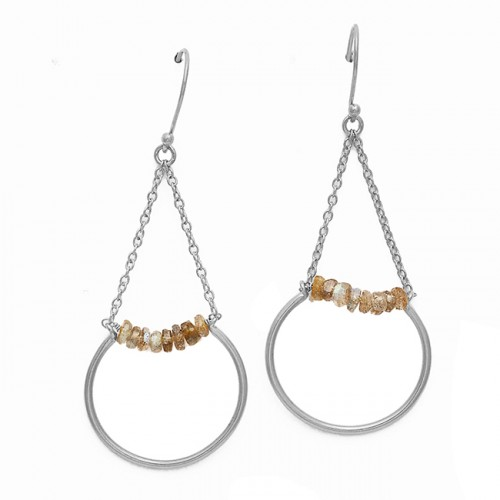 Faceted Roundel Labradorite Gemstone Hanging Chain Dangle 925 Sterling Silver Gold Plated Earrings